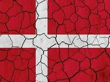 PAINTING ABSTRACT FLAG CRACKED CONCRETE DENMARK DANISH RED WHITE POSTER BMP10275