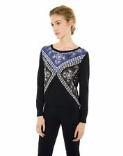 SANDRO Paris Sam Bandana Sweater Navy Blue Black Crewneck Sweater Size 2 US M