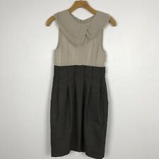 BCBG Max Azria Sz 6 Dress Dark Java Sheer Pleated Side Pockets Silk Wool Blend