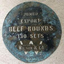 """Antique Round Brass Wilson & Co Cedar Rapids IA Meat Barrel Stencil *18"""" *OOAK!"""