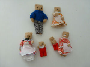 """5.5""""   DOLLS HOUSE TEDDY BEARS FAMILY IN OUTFITS - BUNDLE"""
