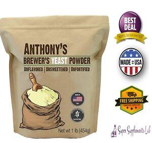 Anthony's BREWER'S YEAST POWDER 1 lb Gluten Free GMO Free Unflavored