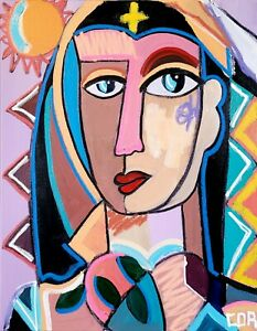 EXPRESSIONISM CUBIST SUNDAY NUN PORTRAIT ABSTRACT PAINTING ACRYLIC LARGE CANVAS