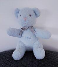 Doudou Peluche Vintage Baby Dior ourson bleu noeuds gris 19 cm