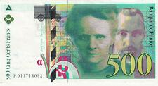 BILLET BANQUE 500 Frs pierre et marie CURIE 1994 SUP 092