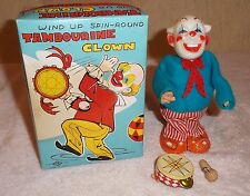 Vintage TN Japan Tambourine Clown Wind Up Spin Round Tin Nomura w Box