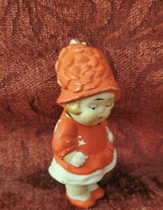 vintage/Antqiue German All Bisque Girl 3 inch Nodder Doll Wearing A Molded Hat