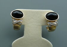 14K YELLOW GOLD BLACK AGATE AND DIAMOND EARRINGS
