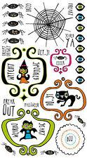Reminisce 10.31 ELEMENTS Rub-Ons Spiders HALLOWEEN Black Cat SPOOKY