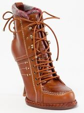 New  Dior Montagne Rusty Leather Booties 37.5 US 7.5