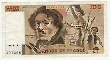 100 FRANCS DELACROIX  1978  K 7  PLI et EPINGLAGES  usages