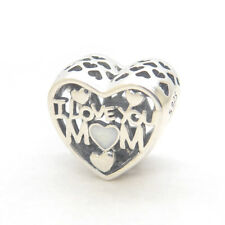 Authentic Pandora Sterling Silver I Love You Mom Enamel Bead Charms #792067EN23