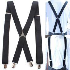 Men Clip-on Suspenders Solid Adjustable Braces Pants 4 Strap Clip Braces PS1