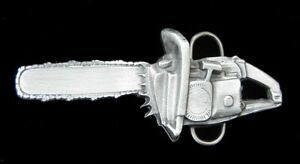 GREAT 3D CHAINSAW BELT BUCKLE BERGAMOT PEWTER US MADE NEW
