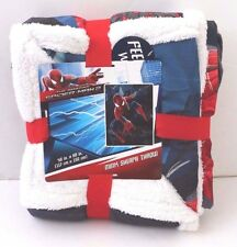 """High Quality Amazing Spiderman 46x60"""" Mink Sherpa Throw Blanket Cover NWT"""