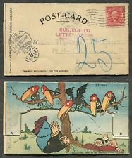 1666 - TAXED Postcard to Germany 1906. Comic. Ravens. Probably Jewish Derogatory