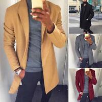 Men's Winter Wool Coat Trench Coat Warm Outwear Male Overcoat Long Jacket Top