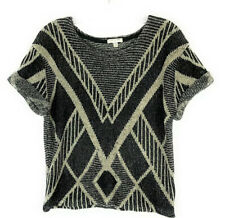 I Love H81 Sweater Gray Black Pullover Cap Sleeves Sweater Women's Size S/P