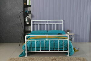 LMB   Black or White Vintage Industrial Style Metal Bed Frame Single Double Size