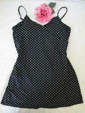 Garnet Hill Swimsuit 14 Black White Polka Dots Skirted One Piece Attached Panty