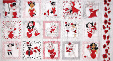"Loralie Lady In Red Fabric ~ 100% Cotton 24"" Panel ~ Loralie Harris Heart Love"