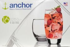 Anchor Hocking Reality 16-Piece Glassware Set Drinking Glasses Glass Juice Tea