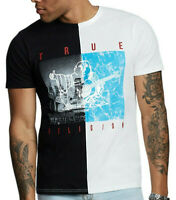 True Religion Men's Buddha Water Split Tee T-Shirt in Black/White