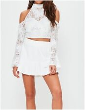 MISSGUIDED Cold Shoulder Key Hole Crop Top in Ivory Lace (mgnn17)