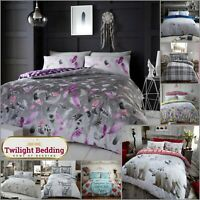FLANNEL DUVET COVER | Reversible Bedding Set 100% Brushed Cotton Quilt Covers