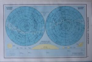 1952 MAP ~ ASTRONOMICAL GEOGRAPHY CONSTELLATIONS STARS SUN PLANETS