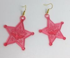 Large Raspberry Pink Sheriff Star Eagle Acrylic Earrings D210 Kitsch Fun 6 cm