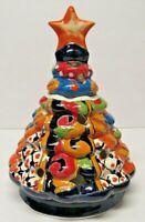 """Traditional Mexican Talavera Pottery Christmas Tree Luminary 9 1/2"""" Folk Art"""