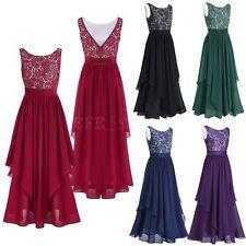 New Plus Size Women Lace Chiffon Evening Formal Party Bridesmaid Maxi Long Dress
