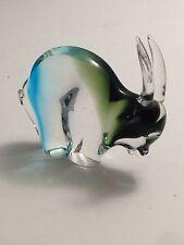 Rare Chalet Glass Birks Three Tone Double Signed Blown Art Glass Bison Ram