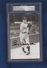 Babe Dahlgren New York Yankees Baseball Autographed Postcard Photo PSA SLABBED