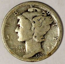 1924-S 10C Mercury Dime 17ocu1808 90% Silver Only 50 Cents for Shipping