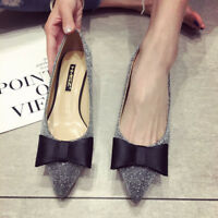 Womens Pointed Toe Knot Slip On Kitten Heels Pumps Sequins Solid Party Shoes
