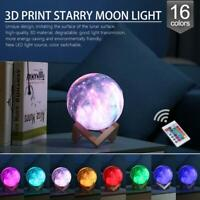 3D Galaxy Star LED Moon Lamp 7/16Color Changing Touch Switch Night Light Decor