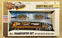 New 1992 Road Champs 1:64 NASCAR Rusty Wallace Pontiac #2 Team Transporter Set