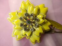 Vintage Vibrant yellow enamel metal retro brooch pin, brooch 1950's -1960's
