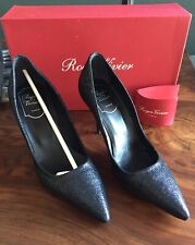 Roger Vivier NEW In Box Privilege Blu Denim Navy Blue Black Shimmer 37 7 $695