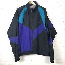 Vintage Puma Color Block Windbreaker Black Purple Teal Baggy Track Jacket Men L