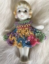 Crochet Dress for 2 1/2- 2 3/4 Frozen Charlotte Flapper Bisque Penny Doll