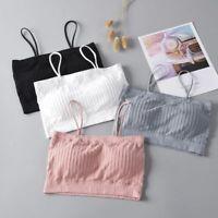 Women Wirefree Gathering Solid Colorube  Bra Soft Brassiere Underwear  T