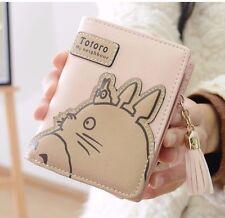 Pink Cartoon My Neighbour Totoro Wallet Anime Tassel Zip Folding Purse Coin Bag