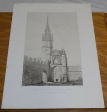 1872 Antique Print///CLOCK TOWER OF AUXERRE, YONNE, FRANCE