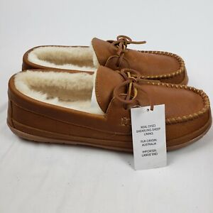 Lands End Mens Leather Shearling Moccasin Slippers In Caramel NWT