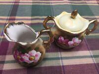 Enesco Japan Vintage Mini Creamer & Sugar Bowl Set Floral Pattern E2351 W/Gold T