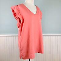 Size XXL Ann Taylor Pink Ruffle V Neck Short Sleeve Top Blouse Shirt Women's 2XL