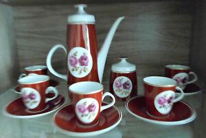 12 tlg Kaffeeservice Fine China Lichte DDR Porzellan mit Rose Motiv.